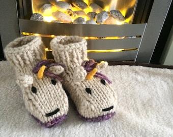Unicorn slippers knitting pattern animal adult boots shoes womens socks girl slippers girls winter gift christmas socks crochet pattern