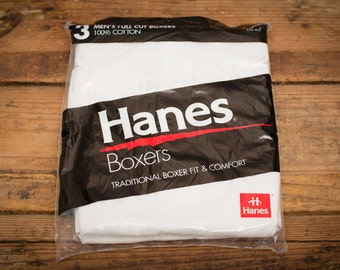 NOS Hanes Boxers 3 Pack, Men's L, Full Cut Boxer Shorts Underwear, Vintage 90s