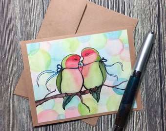 Love Birds Valentine Original Watercolor Print - Kraft Note Card