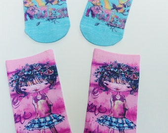 2 pairs sock girl child size 23-26 / US 6.5-9.5 / UK 6-8.5 girl diary notes fun colorful silly funny socks