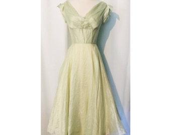 50s Light Green Off Shoulder Party Dress