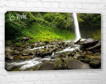 Costa Rica, rainforest wall art, large wall, waterfall canvas art print, waterfall wall decor, waterfall picture, mossy green, 2 panel art