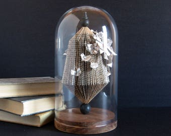 Paper Cog Garden Sculpture w Flowers and Butterflies - Book Paper Origami Sculpture w Glass Dome Display Neutral Home Decor Book Lover Gift