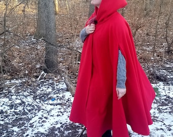 Red Long Cloak - Cozy Winter Cloak - Full Circle Fleece Medieval Renaissance Hooded Cloak - Costume Cape with Hood