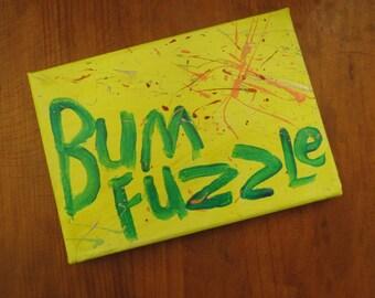 BumFuzzle - Small Word Art Painting - Neon Yellow
