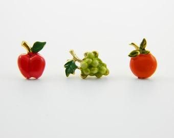 Fruit Pins Trio - Apple, Grapes, Orange