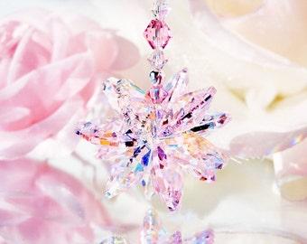 Pink Crystal Rear View Mirror Charm Swarovski Crystal Car Accessories