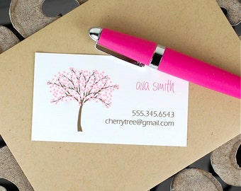 Calling Cards / Custom Calling Cards / Business Cards / Contact Cards / Personalized Calling Cards - Cherry Tree