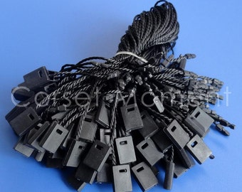 "100 x 7"" Black Hang Tag String Snap Lock Fastener Labeling & Tagging Supplies"