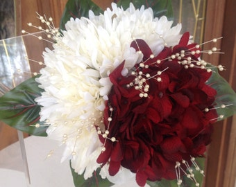 Red and White Winter Wedding Bouquet, Red Hydrangea Bouquet, Silk Flower Red and White Wedding Bouquet, White Mum Bouquet
