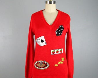 CLEARANCE // Vintage 1960s Souvenir Sweater 60s Red Novelty Las Vegas Gambling Pullover Size S