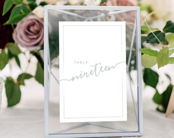 Wedding Table Numbers with Frames: SILVER, Calligraphy, Metallic Wedding, Centerpieces, Geometric Floating Frames
