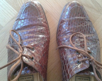 Vintage Lady Oxford shoes,1980s  Snakeskin Shoes, Reptile  shoes, Italian size 37 - US 7 circa - Uk 4 circa, Made in Italy