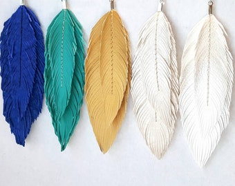 Bohemian Earrings, Double Feather Earrings, Boho, hippie, Boho Bride, Bridal Earrings, 70s, Large Earrings, Festival, Turquoise, Pearl, Gold