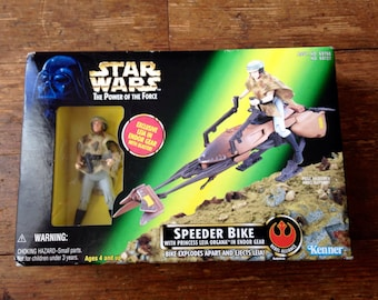 1997 Star Wars, Power of the Force (POTF) Speeder Bike, with Princess Leia Organa; Endor Gear. Boxed and Factory Sealed. Kenner (Hasbro Inc)