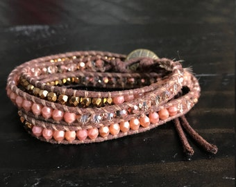 Pink and Gold Wrap Bracelet