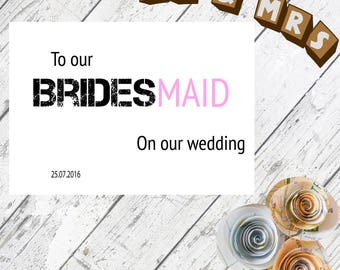 Bridesmaid Card // Bridesmaid // Wedding // Thank You // Personalised // Custom // Greeting Card