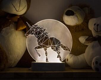 Full Moon Unicorn lamp / Bedside unicorn lamp / LED nightlight / Concrete lamp / animal decorative lamp / woodland themed lamp