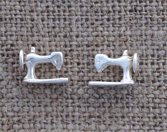 sewing machine earrings - sterling silver studs