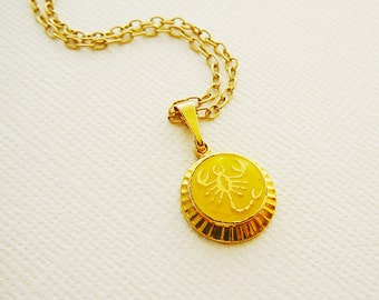 Vintage .. Necklace, Charm, Chain Scorpio Horoscope Goldtone Yellow