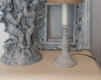 """Candlestick Lamp Burlap Shade Paris Grey Handpainted Lamp With Custom 5"""" Shade French Logo 9"""" Tall French Farmhouse Shabby Cottage Style"""
