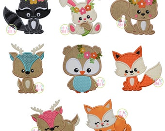 Fall Woodland Critters Applique Set for Machine Embroidery, Eight designs included (Fonts NOT included) INSTANT DOWNLOAD
