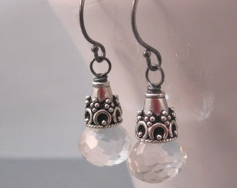 Crystal Quartz Dangle Earrings, Oxidized Sterling Silver Wire Wrapped Briolettes with Bali Sterling Silver Bead Caps, Quartz Jewelry