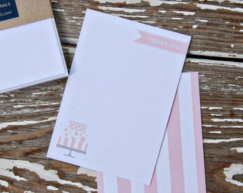 Personalized Note Cards - Set of 8 - cake