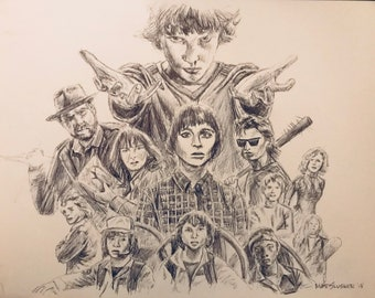 Stranger Things ball point pen drawing 9x12 inches