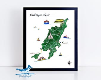 Chebeague Map - Chebeague Island Watercolor Art Print - Coastal Maine Gifts for Her - Birthday Gift - Casco Bay Maine Art Gifts for Family