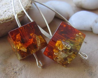 geometric jewelry, square earrings, amber earrings, square resin earrings, resin jewelry, stylish gift, handmade earrings, dangle earrings