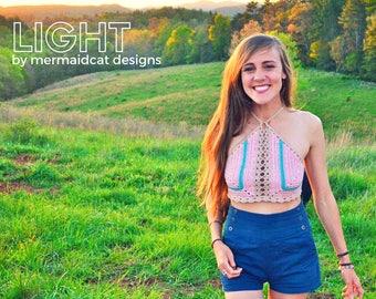 Crochet crop top halter pattern- Light