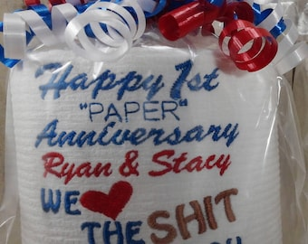 Paper Anniversary - First Anniversary for him or her - Personalized - Custom made Embroidered 1st Anniversary Toilet paper - funny gift B8