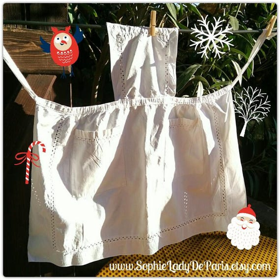 Vintage White Metis Linen Apron French Maid Apron Two Front Pockets Picot Inlays #sophieladydeparis