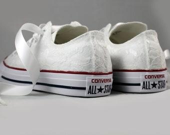White Lace Bridal Converses  --Lace Converse Optic White-- Wedding Tennis shoes  - Wedding Converse