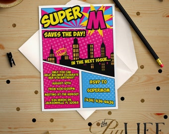 Pink and Blue Girl Superhero Save The Day Comic Book or Comic Strip Birthday Invitation Printable DIY No. I42
