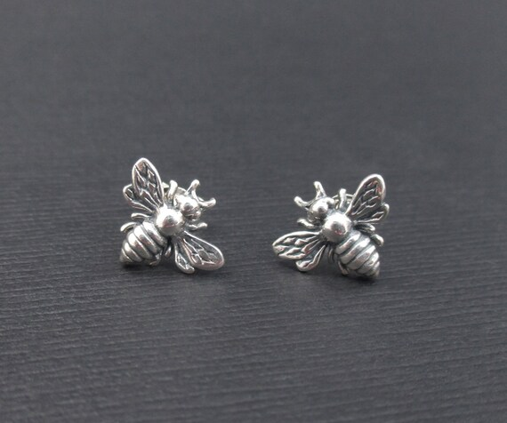Honeycomb with Bee Stud Earrings Sterling Silver Honey Bumble Bee Comb Studs Gifts for Women Girls Child fjkmn