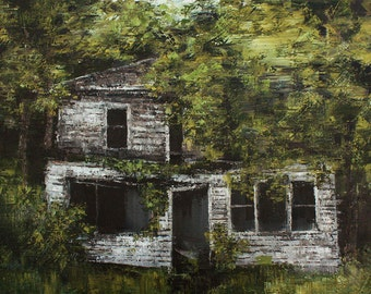 Abandoned house art, house painting, rural landscape art, rural oil painting, palette knife art, green grey painting, tree painting