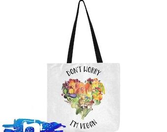 I'm Vegan Vegeterian Tote Bag, Shopping Bag, Reusable Shopper Bag, Market Bag, Cotton Tote, Eco Tote Bag, Reusable Grocery Bag