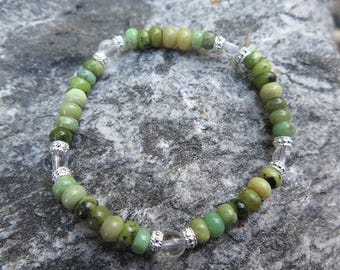 Chrysoprase Bracelet with Clear Quartz and 925 Silver