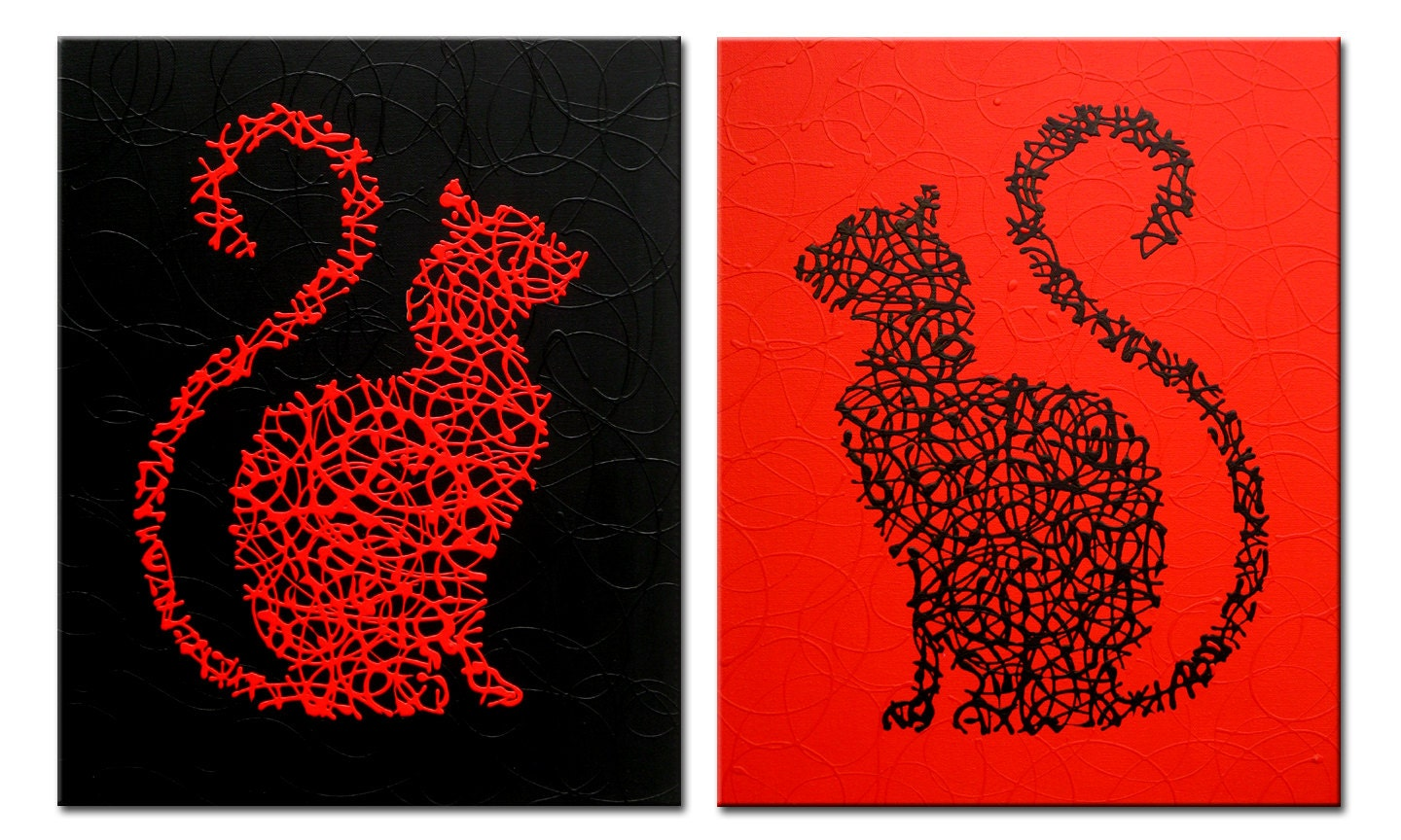 Red And Black Cats Original Painting On Canvas 2 Pieces
