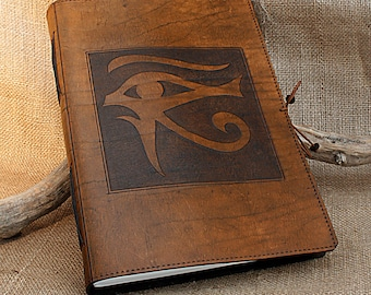 A4, Large, Leather Hand Bound Journal, Eye of Horus, Egyptian Journal, Brown Leather Notebook, Blank Book, Leather Diary, Personalized.