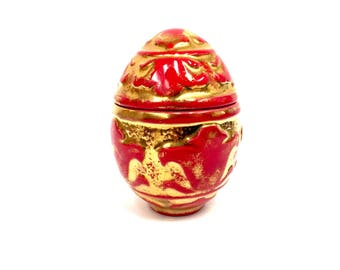 Beautiful Red and Gold Ceramic Hand-Painted Egg Trinket Box by Jamar Mallory 1970