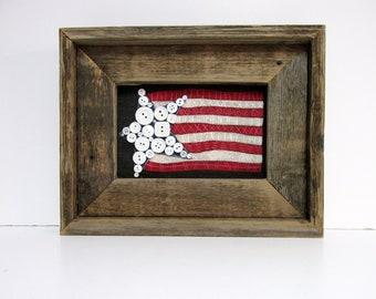 American Flag, Patriotic USA Flag, Folk Art American Flag, Framed in Reclaimed Barn Wood, Primitive American Flag, Red, White and Blue
