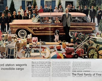1959 Ford Country Squire Station Wagon Ad - 1950s Family - Ford Motor Company