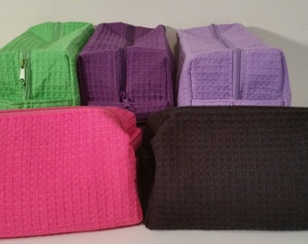 Monogrammed Waffle Spa type cosmetic bags