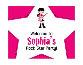 50% Off Sale! - PRINTABLE Boy or Girl Rock Star Party Welcome Sign