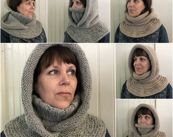 Hat Knitting Pattern, Hood Knitting Pattern, Arctic Chill Hat and Double Cowl