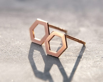 Delicate eco friendly geometric hexagon stud earrings, rose gold plated sterling silver