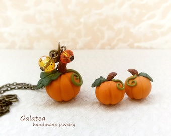 Pumpkin jewelry set Halloween jewelry Autumn jewelry set Pumpkin necklace Halloween earrings Fall jewelry Gift for Her Thanksgiving jewelry